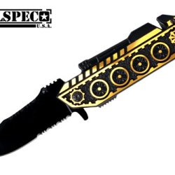 "8"" Over All Spring Assisted Tank Design Golden/Yellow Color Pocket Knife"