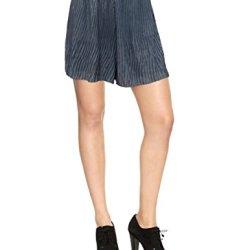 Free People Knife Pleat Dressy Shorts, Large, Gunmetal Gray Shimmer
