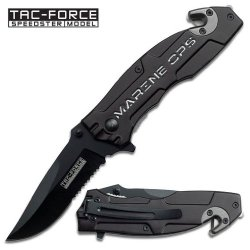 "3.25"" ""U.S. Marine"" Spring Assisted Rescue Knife - Black"