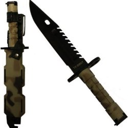 Ultimate Arms Gear Tactical Limited Edition British Multi Terrain Camo Camouflage Special Forces Series M9 M-9 Military Sawback Survival Stealth Black Blade Bayonet Knife With Tactical Sheath Scabbard