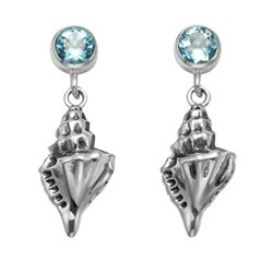 Sterling Silver Conch Shell Earrings With Blue Crystal Posts