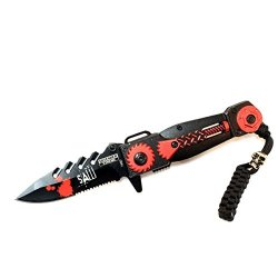 """New 8"""" Saw Spring Assisted Knife With Serrated Stainless Steel Blade - Red"""