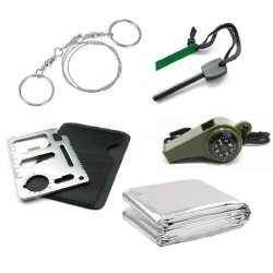 Generic Outdoor Emergency Survival Kit : Thermal Blanket + Larger Size Fire Starter Flint + Wire Saw + 3In1 Whistle + Card Knife