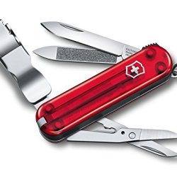 Victorinox Pocket Knife, Nail Clip 580, Red-Trans. Synthetic Handle 0.6463.T