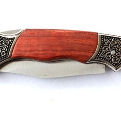 Rosewood Deco Grip Pocket Knife - Folding Hunting Knife Gift