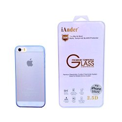 Iander Premium Tempered Glass Screen Protector For Iphone 5S Iphone 5C Iphone 5 - Screen Protector For Iphone 5S Iphone 5C Iphone 5 With Pink Transparent Case Cover