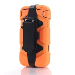 Meaci® Iphone 4/4S 4 In 1 Orange Defender Body Armor With Tpu Clip Against Shocks Hard Case