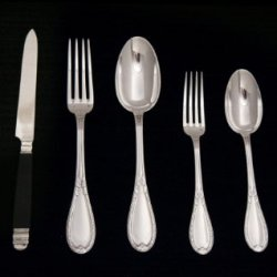 """Another Magnificent Sterling Silver Flatware Set By Internationally Known French Silversmith """"Lapparra"""", Classic """"Louis Xvi"""" Pattern With Rare Ebony Handle Knives And 3-Tiered Wooden Storage Chest (Circa 1890S) !!"""