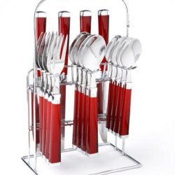 Cambridge Silversmiths Temptation Red 16-Piece Flatware Set Rack
