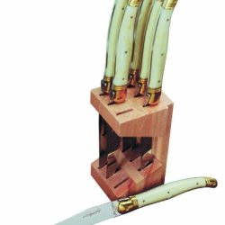 Jean Dubost 6 Steak Knives In Wood Block, Ivory