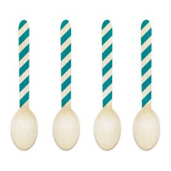 Dress My Cupcake 3.75-Inch Natural Wood Dessert Table Spoon, Aqua Striped, Case Of 50