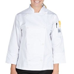Chef Revival Lj027-S Customizable Knife And Steel Ladies White Long Sleeve Chef Jacket - Poly-Cotton