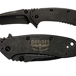 Usmc Marines First To Fight Wings Engraved Kershaw Cryo Ii Tanto Blackwash 1556Tbw Folding Speedsafe Pocket Knife By Ndz Performance