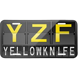 Metal License Plate Yzf Airport Code For Yellowknife - Neonblond