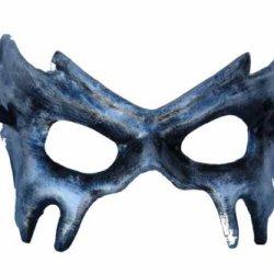 Black Finish Bat Half Face Paper Mache Mask