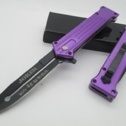 """Tac Force Assisted Opening Folding """"Why So Serious?"""" Joker Purple Knife New!!!"""