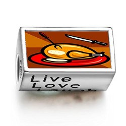 Fervent Love Thanksgiving Turkey Knife Fork Photo Live Love Laugh European Charm Bead