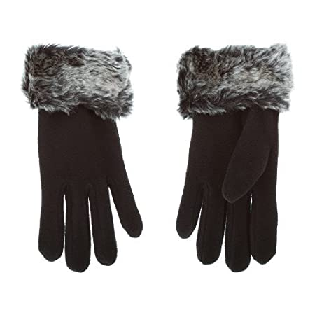 Ladies Fleece and Faux Fur Cuff warm thermal gloves