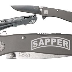 Banner Sapper Military Engineer Custom Engraved Sog Twitch Ii Twi-8 Assisted Folding Pocket Knife By Ndz Performance