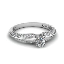 Fascinating Diamonds 1.25 Ct Oval Shaped Diamond Split Band Engagement Knife Edge Ring Gold 14K Gia