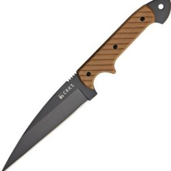 Crkt C/K Dragon Black Fixed Blade Knife, 4.625In, Wharncliffe Blade, Grooved Brown G10 2010Dk