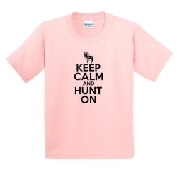 Keep Calm And Hunt On Youth T-Shirt Medium Lt Pink