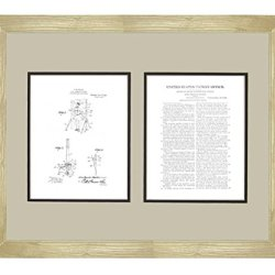 "Moulin Knife-Throwing Illusion Patent Art White Matte Print In A Natural Raw Wood Frame (16"" X 20"")"