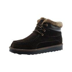 Rock Me Men'S Genuine Leather Winter Snow Boot(Brown,9.5)