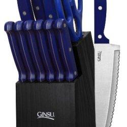 Ginsu 3889 Essential Series 14-Piece Cutlery Set With Black Block, Blue