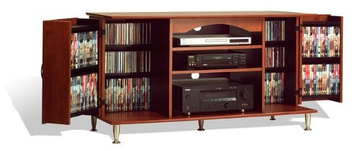 Image of Prepac PS-6000 Plasma TV / Component Stand with Media Storage in Cherry (AZ07-17455)