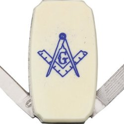 Frost Masonic Money Clip Folding Knife,Stainless Blade, White Smooth Bone Onlay Handle 15447Mas