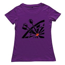 Goldfish Women'S Funny Pre-Cotton Dart Board T-Shirt Purple Us Size Xxl