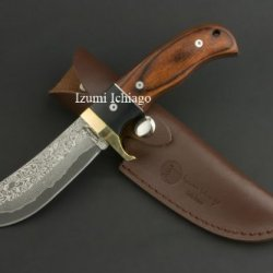 Damascus Hunting Knife Tsuchime 130 By Izumi Ichiago