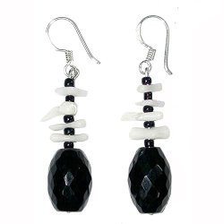 Handmade Sterling Silver White Coral & Black Onyx Faceted Bead French Wire Earrings