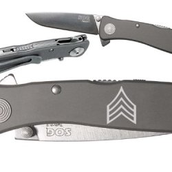 Military Rank Sergeant Ol Custom Engraved Sog Twitch Ii Twi-8 Assisted Folding Pocket Knife By Ndz Performance