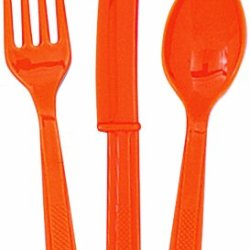 Plastic Orange Cutlery Set, 18Ct For 6 Guests