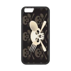 "Fashion Iphone 6 Case Custom Skull With Knife And Fork Case For Iphone6 4.7"" (Laser Technology)"