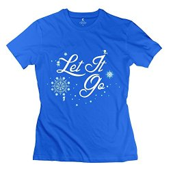 Let It Go Women Short Sleeve Tees Royalblue Xx-Large