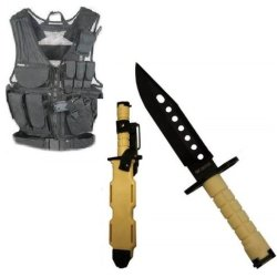 Ultimate Arms Gear Stealth Black Lightweight Edition Tactical Scenario Military-Hunting Assault Vest W/ Right Handed Quick Draw Pistol Holster + Tan Lightweight Cut Stealth Black M9 M-9 Military Survival Blade Bayonet Knife With Tactical Sheath Scabbard