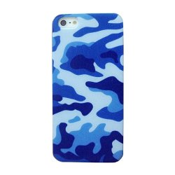 Meaci® Iphone 5 Case Painting Navy Blue Camo Pattern Fast Color 1 Free Anti-Dust Plug Stopper-Random Color (Blue)