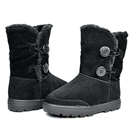 A smart look, the Snowland cold weather boots by dream pairs. cuddle your feet in comfort with a cushy faux-fur lining and a durable faux suede upper. Flip the furry cuff up or down for different looks!