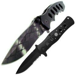 Set Of 2 Black Firm Tactical Folding Knife Set, Black