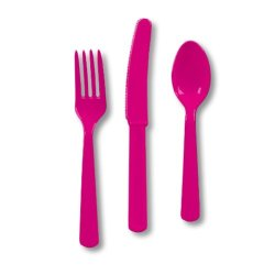 Hot Magenta Assorted Heavy Duty Plastic Cutlery - 144 Plastic Bowls
