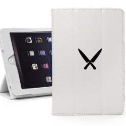 Apple Ipad Mini White Faux Leather Magnetic Smart Case Cover Lm32 Black Chef Knives