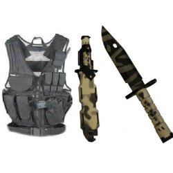 Ultimate Arms Gear Stealth Black Lightweight Edition Tactical Scenario Military-Hunting Assault Vest W/ Right Handed Quick Draw Pistol Holster + Urban / Snow Camo Camouflage M9 M-9 Military Survival Tiger Stripe Tigerstripe Blade Bayonet Knife With Tactic