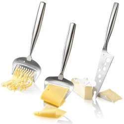 Boska Holland De Luxe Stainless Steel Cheese Grater, Cheese Slicer & Cheesy Knife - 3Pc. Cheese Set