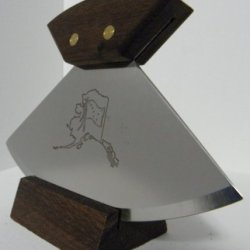 """Alaskan Made 6"""" Ulu Knife With Walnut Hande And Stand (6"""" Etched Map Blade)"""