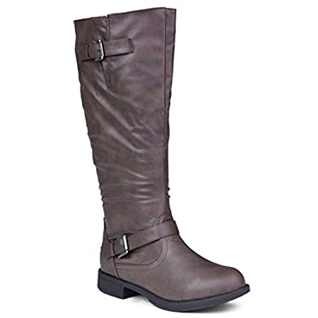 Amira Wide Calf Knee-High Riding Boot Our Amira knee-high boot makes being stylish look easy. This boot features a wide width calf, and elastic goring for ideal comfort. It's made with soft and sleek faux leather that sits on top of a tough rubber s...