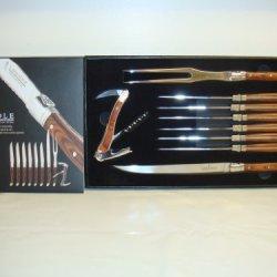 Laguiole 9 Piece Set-6 Steak Knives,2Piece Carving Set,Wine Opener