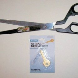 """""""Abc Products"""" - 14"""" Long Blade Scissors - Ground And Polished - Stainless Steel Blades - 3 Finger And Thumb Looped Handles - For Firm Grip - Use Sissors To Cut: Newspapers, Wallpaper, Gift Wrap And More (June Bug Special Offer) - Free Key Knife - When Yo"""